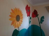 Amapolas y girasol, detalle mural