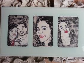 Morena guapa y su morenazo. Serie de tres retratos de 15x20cm cada uno en marco de cristal blanco.